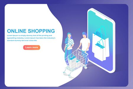 Marketing and Shopping online web template and landing page concept. Isometric Smartphone and shopping bag with character.