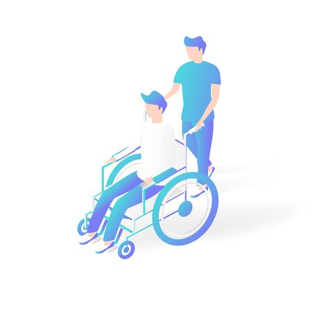 Medical and Healthcare concept. Isometric patients on wheelchair.