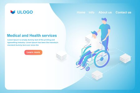 Medical and Healthcare concept. Isometric patients on wheelchair. Landing page and web template vector design. Illustration