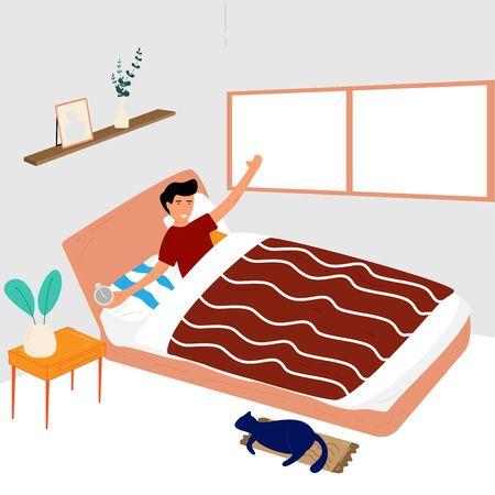 L'uomo si sveglia a lutto. Si alza e si siede sul letto con la mano che tiene la sveglia. Illustrazione vettoriale in stile piatto. Vettoriali