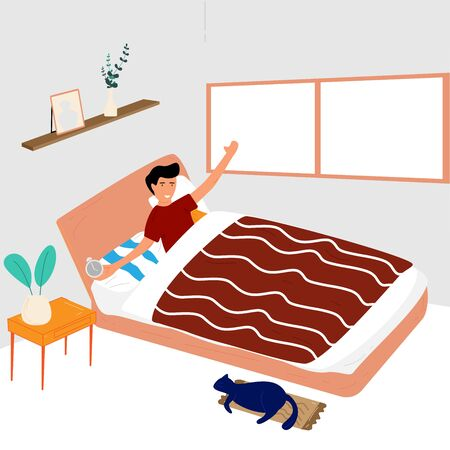 Man wake up at mourning. He is get up and sitting on bed with hand holding alarm clock. Vector illustration in flat style.