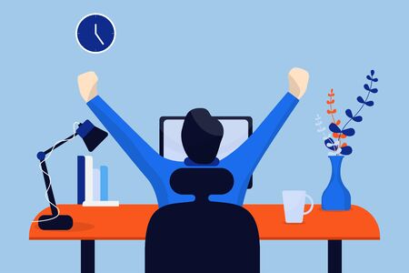 Men stretch their arms to relax from work. View from the back. Vector illustration in flat style.  イラスト・ベクター素材