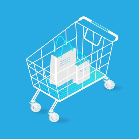 isometric trolley and shopping bag isolated on background. Vector illustration in 3d style.