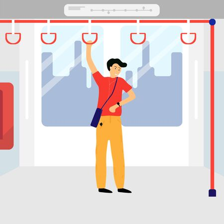 The man standing in electric trains. He is looking watch and worry go to destination or appointment is late. Vector illustration in flat style. View form interior side.