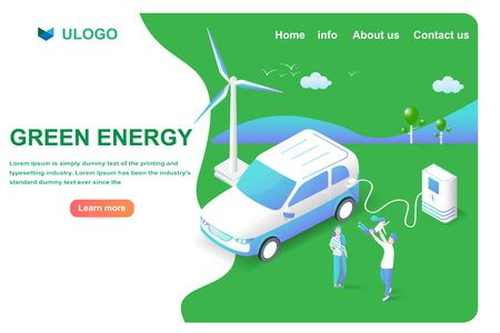 Isometric electrical car or EV modern smart vehicle. Save the world and green energy innovation high technology concept. Vector illustration landing page and website template in 3D style.