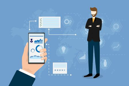 Financial business people performance concept. Smart employee standing and icon on blue background. Giant hand is holding smartphone with big data chart on screen. Vector illustration in flat style. Çizim