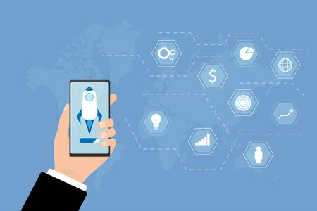 Financial and business start up concept. Big hand holding smartphone with rocket on screen. Infographic business icon and world map on blue background. Illustration