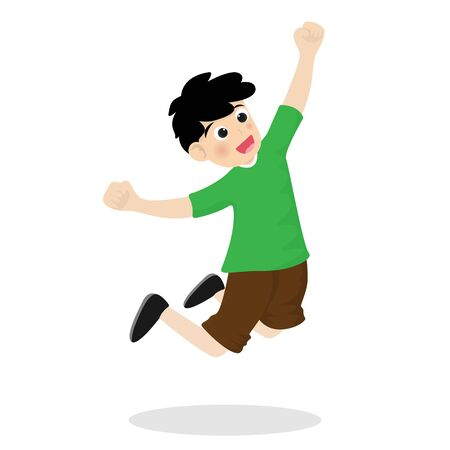 Cute kid or little boy is happy and joyful action. Vector illustration in flat design.