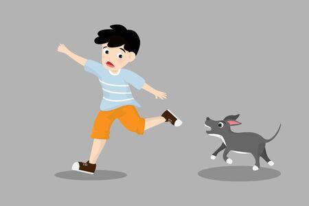 Il ragazzino scappa dal cane arrabbiato isolato su priorità bassa. Illustrazione di vettore nello stile piano del personaggio dei cartoni animati.