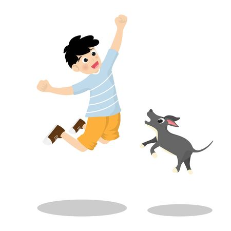 Little boy jumping and happy joyful with the dog together isolated on background. Vector illustration in cartoon character flat style.