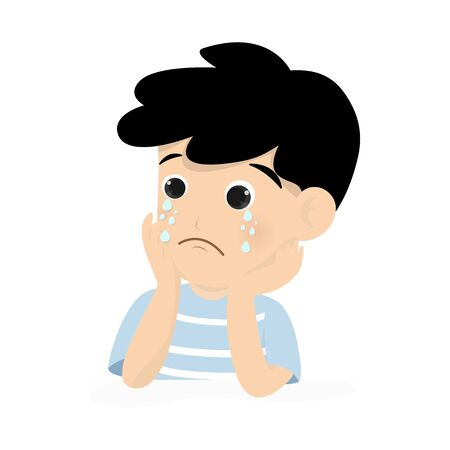 Sad boy is tearing isolated on background. Vector illustration in flat cartoon style.