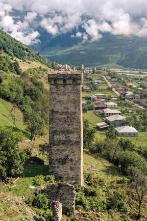 svaneti: The ancient Svan towers. Svaneti, Mestia, Georgia, Greater Caucasus Range.