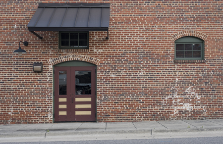 brick wall with window door old aged brick decorative view
