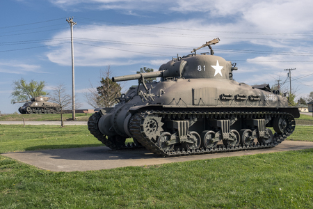 POA-CWS-H1 Sherman Flame Tank to provide close support for attacking infantry. Used in the Pacific Theater of World War II and Korean conflict. An outdoor military vehicle complex featuring vehicles used throughout military history eras.