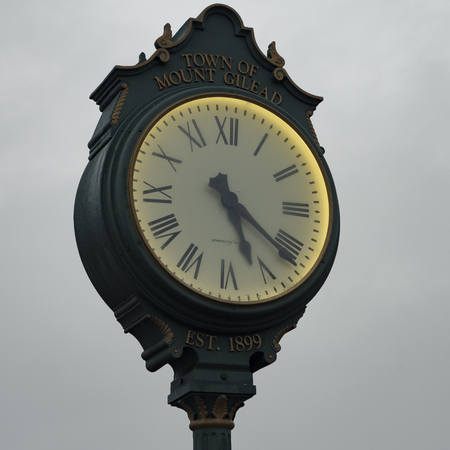 an historical document of architecture and location for Mount Gilead Town Clock circa 2018