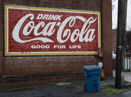 an historical document of Coca Cola art mural in the Mount Gilead, North Carolina circa 2018 at Main Street by unknown artist