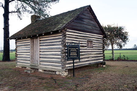 Civil War Era Slave Cabin at Averasboro Battle Field, NC-Circa 2018: Civil War Battlefield and Monuments