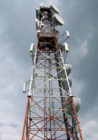 gsm: A cell phone antenna tower used for 3G and GSM Stock Photo