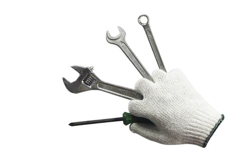 hand tool: Working hand holding many tools, isolated on a white background. Stock Photo