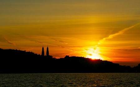 Stockholm Silhouette and the sunset sky.  photo