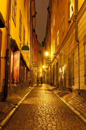 Street at night in the old town (Gamla Stan) of Stockholm,