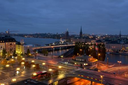 Night scene of the Stockholm City  of Katarina elevator