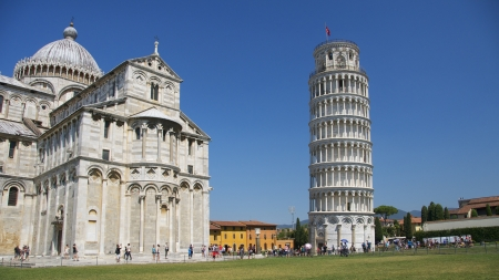 leaning tower of pisa: The Leaning Tower of Pisa (Italian: Torre pendente di Pisa) or simply the Tower of Pisa (Torre di Pisa) is the campanile, or freestanding bell tower, of the cathedral of the Italian city of Pisa, Editorial