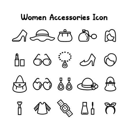 women accessories icon set vector illustration  イラスト・ベクター素材
