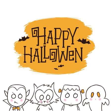 Fondo de Halloween con personajes lindos, drácula, hombres lobo, frankenstein y fantasmas ilustración vectorial