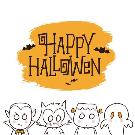 Halloween background with cute characters, dracula, werewolfes, frankenstein & ghost vector illustration