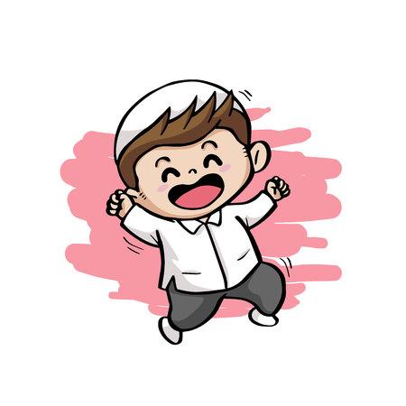 cute happy moslem kids cartoon mascot vector illustration
