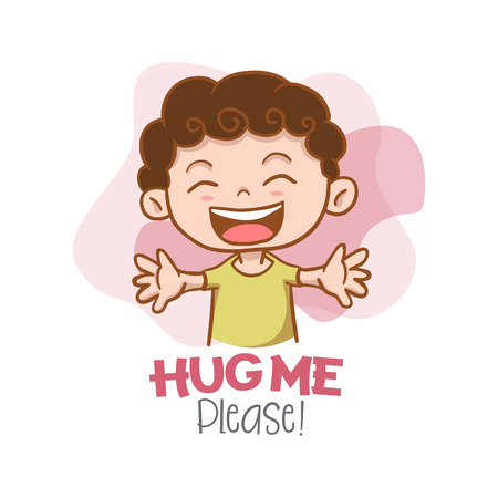 Hug Me Please! with Kid Character Vector Illustration 일러스트