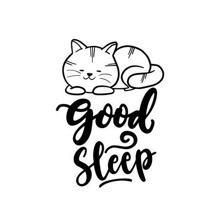 Good Sleep Cat Typography Hand Drawing Vector Illustration