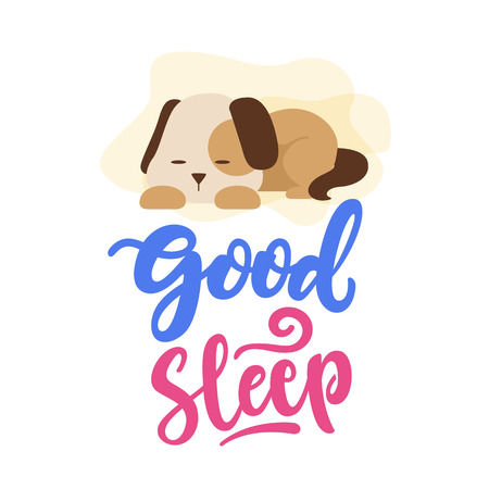Good Sleep Dog Typography Vector Illustration