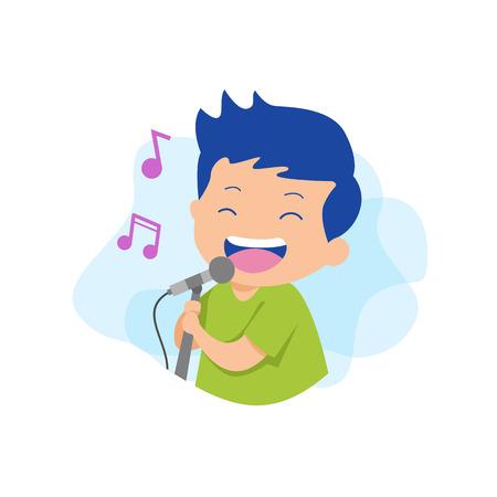 Man singing karaoke Vector Illustration