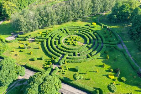 A green labyrinth in the landscape park. A labyrinth of hedges in the middle of a city park. An aerial shot.