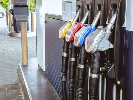 Gas Petrol station with fuel gasoline dispensers background