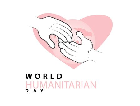vector illustration of hands with background love and world icons, symbol of concept of volunteering and charity. good for print, surface design, emblem andt etc
