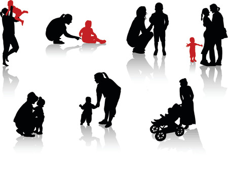 offsprings: Stages from a life. Parents with children.