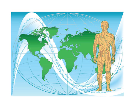 The allegorical image of the person in the form of a motherboard on a background of a card of the world. The digital world.