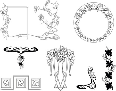 Collection of patterns in style art nouveau.