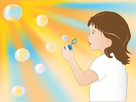 burbujas de jabon: La ni�a a soplar burbujas de jab�n