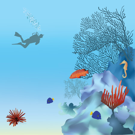 diving: Coral reef with fish. Vector. Mesh. Illustration