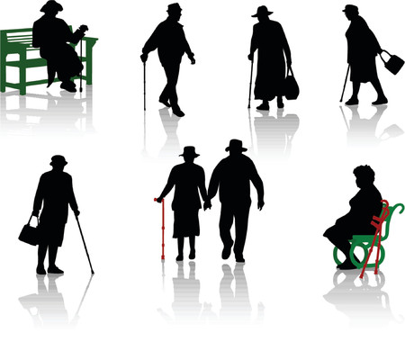 Silhouette of old people.