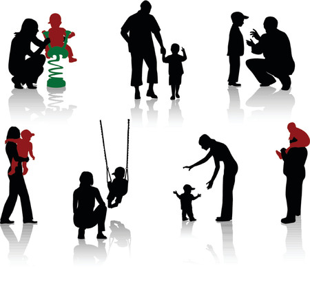 playgrounds: Silhouette of parents and children. Vector.  Illustration