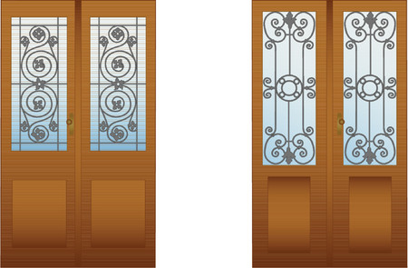 glass door: Doors with decorative lattices for design Illustration