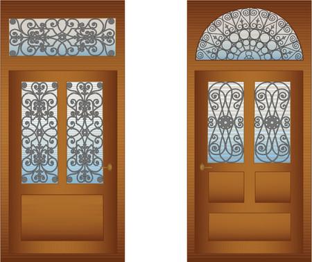 doorstep: Doors with decorative lattices for design Illustration