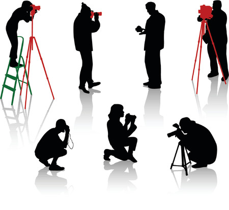 Silhouettes of photographers during the different moments of shooting Vector