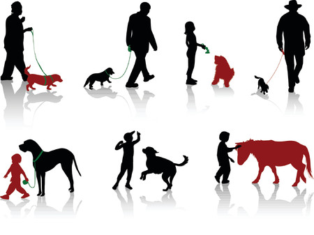 Silhouette of people with dogs. Vector