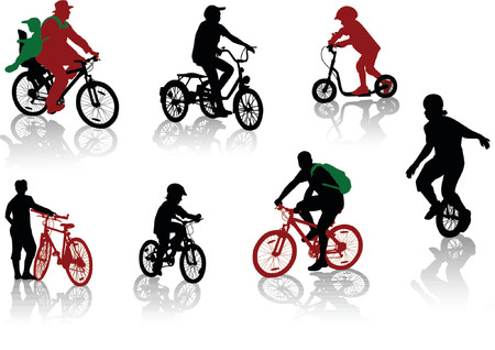 Silhouettes of people and children on bicycles and a scooter